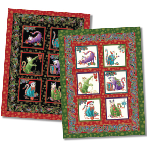 """Cats Meow Christmas"" Free Christmas Quilt Pattern designed by Ann Lauer from Benartex"